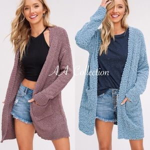 Sweaters - knit open front long sleeve cardigan sweater